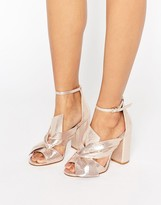Miss Selfridge Metallic Bow Front Heeled Sandal