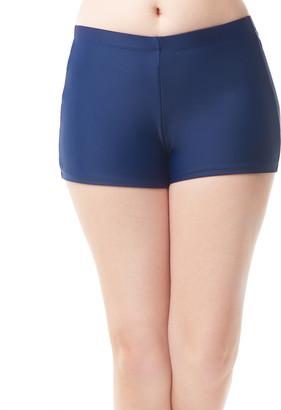 Love My Curves Women's Bikini Bottoms Navy - Navy Banded Boyshort Bikini Bottoms - Women & Plus