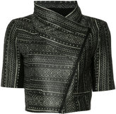 Yigal Azrouel tribal print cropped jacket - women - Lamb Skin - 0