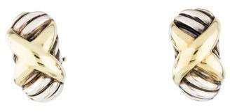 David Yurman Two-Tone X Huggie Earrings
