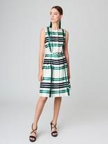Oscar de la Renta Plaid Silk-Cotton Mikado Dress