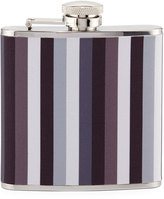 Neiman Marcus Striped Stainless Steel Flask, Gray/Multi