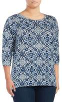 Lucky Brand Plus Three-Quarter Sleeve Top
