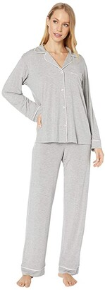 Eberjey Gisele Basics PJ Set (Heather Grey/Sorbet Pink) Women's Pajama Sets