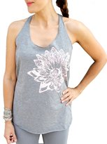 Blonde Peacock Women's and Pale Pink Lotus Flower Design Loose Fit Racerback Yoga Tank Top