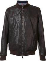 Isaia reversible leather bomber