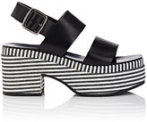 Barneys New York Women's Striped-Platform Leather Slingback Sandals