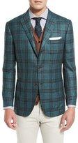 Kiton Plaid Cashmere Three-Button Sport Coat, Sea Green