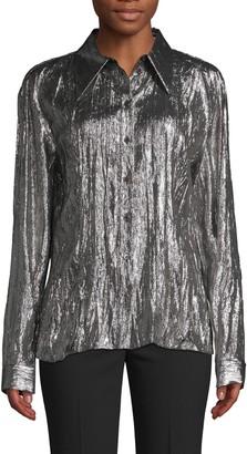 Michael Kors Crushed Metallic Lame Shirt