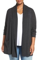 Sejour Plus Size Women's Open Front Wool & Cashmere Cardigan