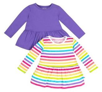 Little Star Organic Baby and Toddler Girl Long Sleeve Pure Organic True Brights Shirts, Peplum Tee, 2 pack