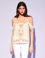 Lipsy Cold Shoulder Beaded Top