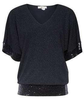 Dorothy Perkins Womens **Billie & Blossom Petite Black Sequin Batwing Top, Black