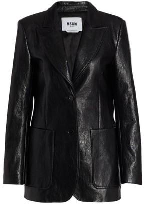 MSGM Faux Leather Blazer Jacket