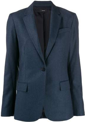 Theory woven one-button blazer