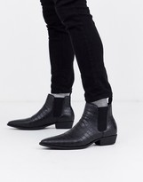 Asos Design DESIGN cuban heel western chelsea boots in black faux leather with croc effect