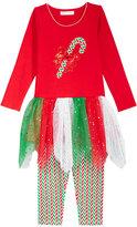 Bonnie Jean 2-Pc. Candy Cane Tutu Tunic & Leggings Set, Toddler Girls (2T-5T) & Little Girls (4-6X)