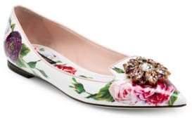 Dolce & Gabbana Rose Print Leather Flats