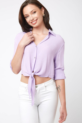 Olivaceous Lavender Tie Front Top Lavender M