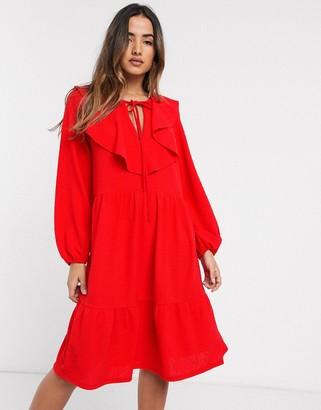 Asos Design DESIGN frill collar midi smock dress-Red