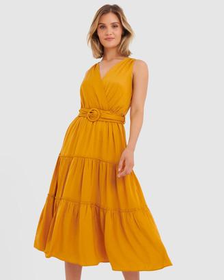 Forcast Eliza Belted Maxi Dress