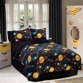 Veratex Rocket Star Bedding Collection 100% Polyester 3-Piece Glow in the Dark Kids Comforter Set, Twin Size, Black