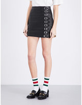 Gucci Buckle strap leather skirt