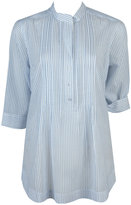 Pintucked Striped Woven Shirt