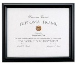 "Lawrence Frames Black Diploma Frame - Domed Top - 11"" x 14"""