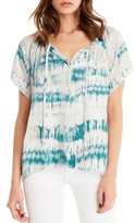 Michael Stars Women's Print Button Front Peasant Top
