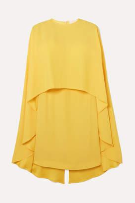 Sara Battaglia Cape-effect Crepe De Chine Mini Dress - Yellow