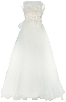 Marchesa Ruffle Embellished Wedding Dress XS