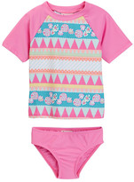 Floatimini Geo Print Rash Guard Set (Toddler & Little Girls)