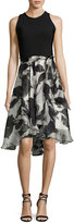 Carmen Marc Valvo Sleeveless Solid Ponte & Floral Silk Cocktail Dress, Ivory/Black