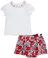 Mayoral Peter Pan Collar Tee w/ Floral Skort, Size 12-36 Months