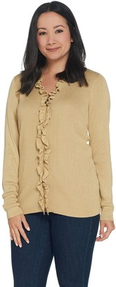 Belle by Kim Gravel Lurex Zip Front Ruffle Cardigan