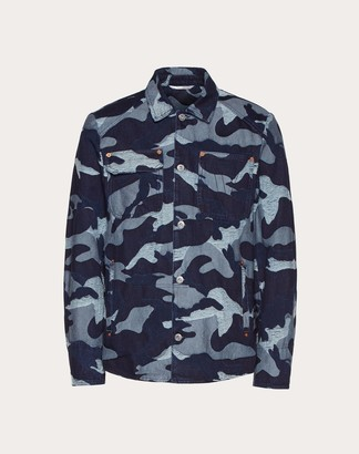 Valentino Camouflage Pea Coat In Denim Jacquard Man Navy Cotton 100% 52