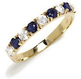 Tatitoto Gioie Women's Ring in 14k Gold with White Cubic Zirconia and Blue Cubic Zirconia, Size 6, 3.2 Grams