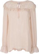 Twin-Set lace panel semi-sheer blouse