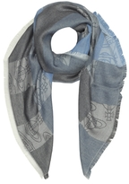 Vivienne Westwood Navy Woven Viscose and Modal Square Scarf