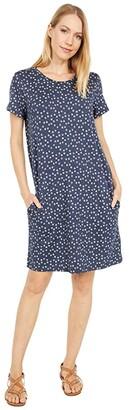 Toad&Co Windmere II Short Sleeve Dress (True Navy Daisy Chain Print) Women's Clothing
