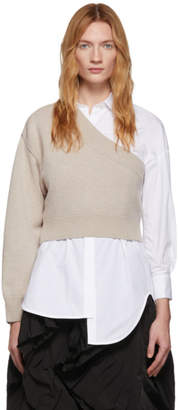 Enfold White and Beige Poplin and Knit Somelos Shirt