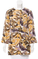 Tory Burch Silk Butterfly Print Tunic