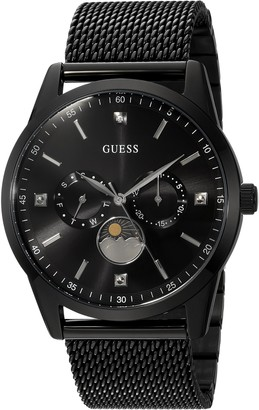 GUESS Black Ionic Plated Mesh Bracelet Watch with Genuine Diamond Day