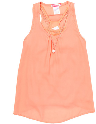 Cutie's Fashions Girls' Tank Tops CORAL - Coral Crossover-Back Tank & Necklace - Girls