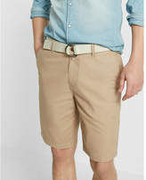 Express classic fit 10 inch flat front belted shorts