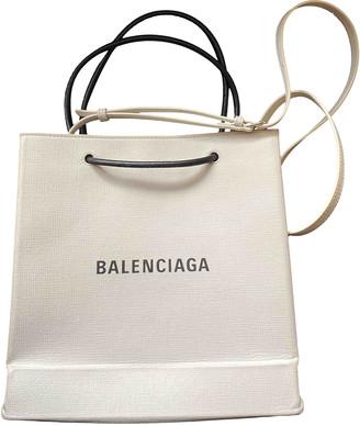 Balenciaga Plastic bag shooper White Leather Handbags