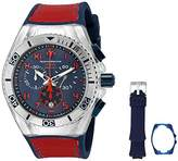 Technomarine Men's Quartz Watch with Blue Dial Chronograph Display and Blue Silicone Strap TM-115071
