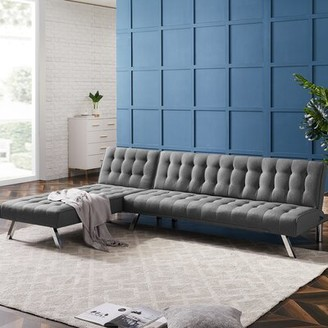 Latitude Run Annesophie 100'' Reversible Sleeper Sofa & Chaise Fabric: Gray