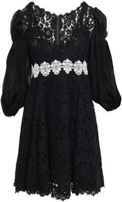 Dolce & Gabbana Embroidered Corded Lace And Georgette Mini Dress